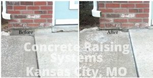 Look at the difference between the before and after when we did foam jacking for this driveway by Concrete Raising Systems 7318 N Donnelly Ave. Kansas City,MO 64158