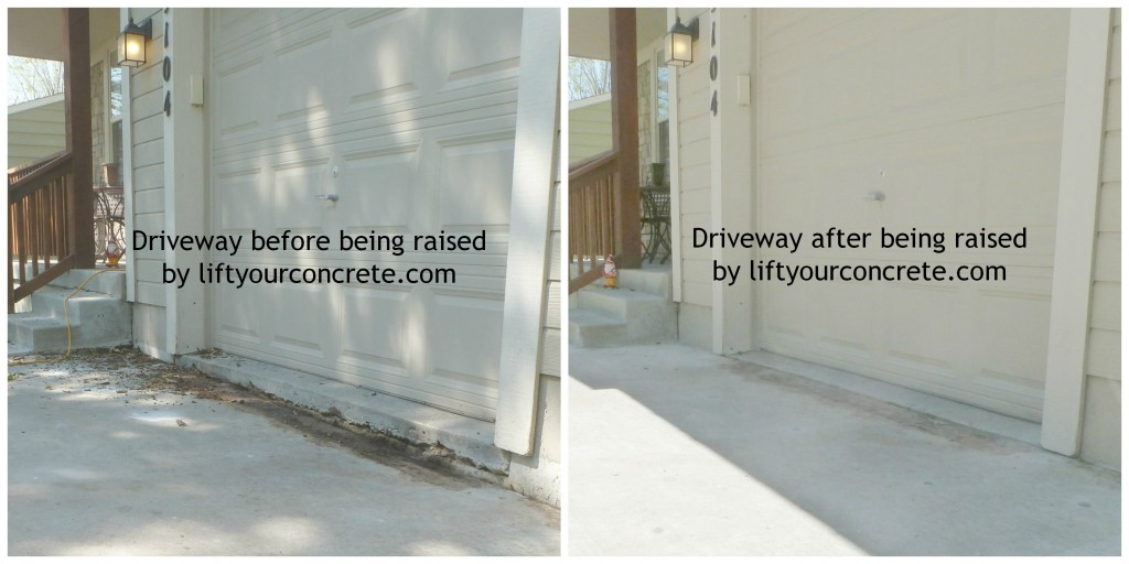 "Before and after photos of Concrete Driveway Repair with Concrete Raising Systems, Kansas City,MO. This driveway had sunk about 5"" and with our foam mud jacking system we were able to accomplish the concrete lifting and bring it back even with the garage."