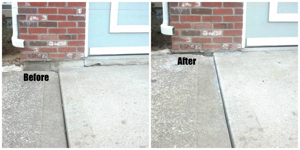 Before and After using Polyurethane Mud jacking for a Concrete Driveway repair by Concrete Raising Systems 7318 N Donnelly Ave. Kansas City,MO 64158. Concrete lifting with polyurethane foam.