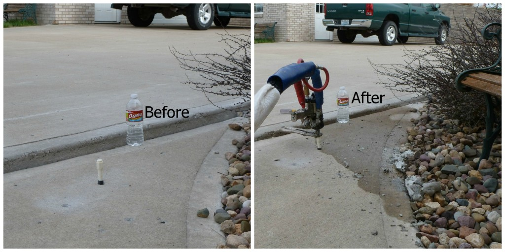 "Concrete Sidewalk repair before and after photos of a job by Concrete Raising Systems, Concrete Raising Systems, Kansas City. The Americans with Disabilities Act makes it necessary for you to do your repair your concrete sidewalk if there is more than 1/4"" difference in the sidewalk slabs. We do concrete sidewalk repair with polyurethane foam mud jacking. Fix your concrete sidewalk before someone has an accident."