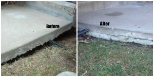 Void Filling before and after results when Concrete Raising Systems 7318 N Donnelly Ave. Kansas City,MO 64158 repairs the void on your sidewalk.