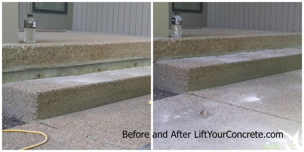 Before and after photo of concrete front steps being fixed by Concrete Raising Systems 7318 N Donnelly Ave. Kansas City,MO 64158